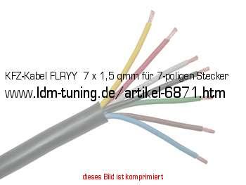 KFZ-Kabel FLRYY 7 x 1,5 qmm für 7-poligen Stecker in Anhänger